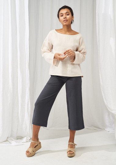 Linen boat neck top with long sleeves Bruno