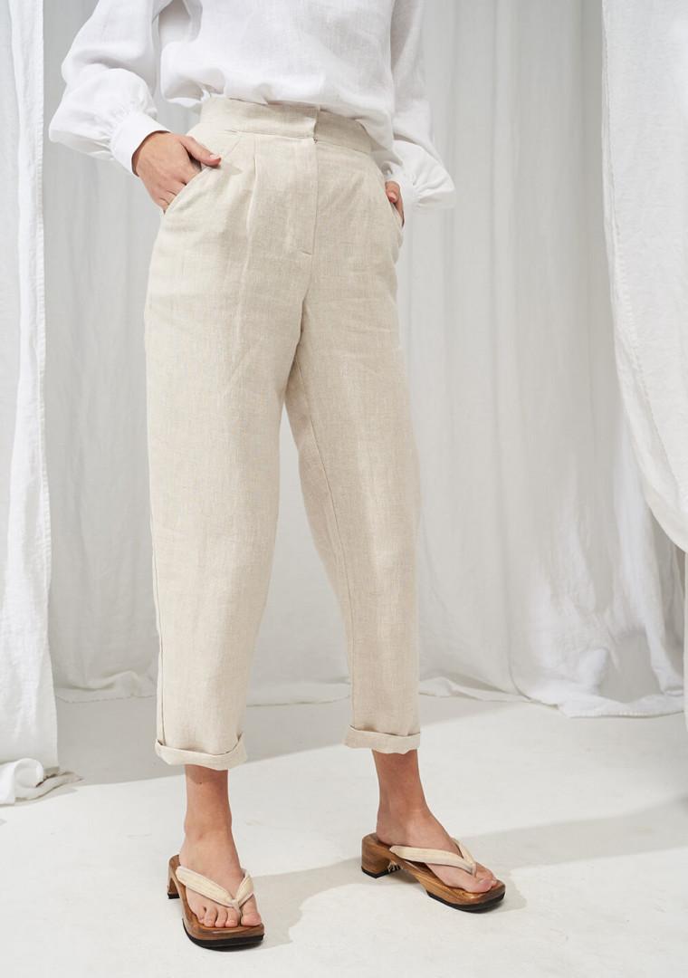 High waisted linen pants Delaney 3
