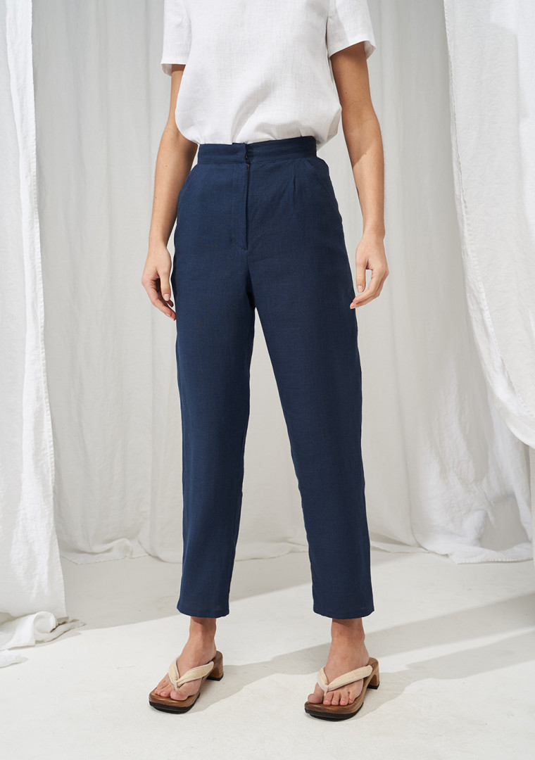 High waisted linen pants Delaney 1