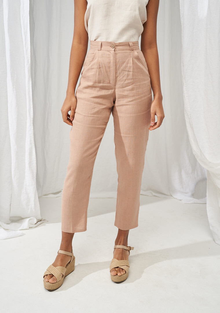 High waist tapered linen pants Ginger 4