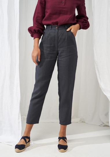 High waist tapered linen pants Ginger