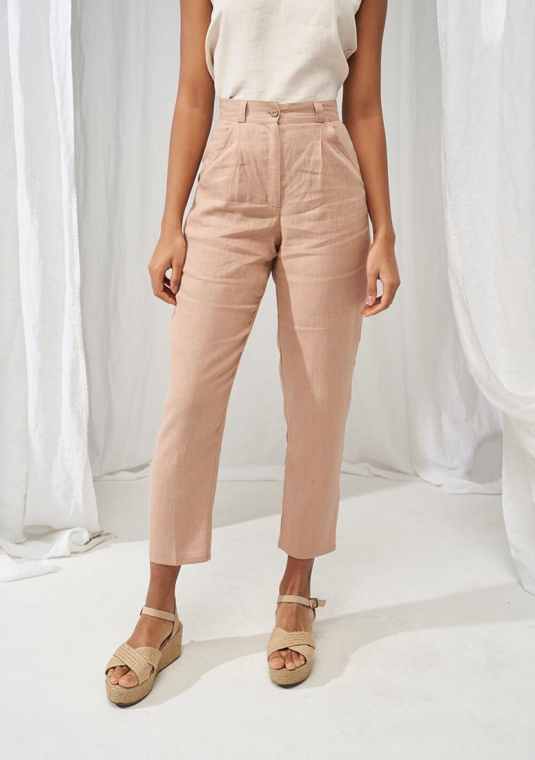 High waist tapered linen pants Ginger 1