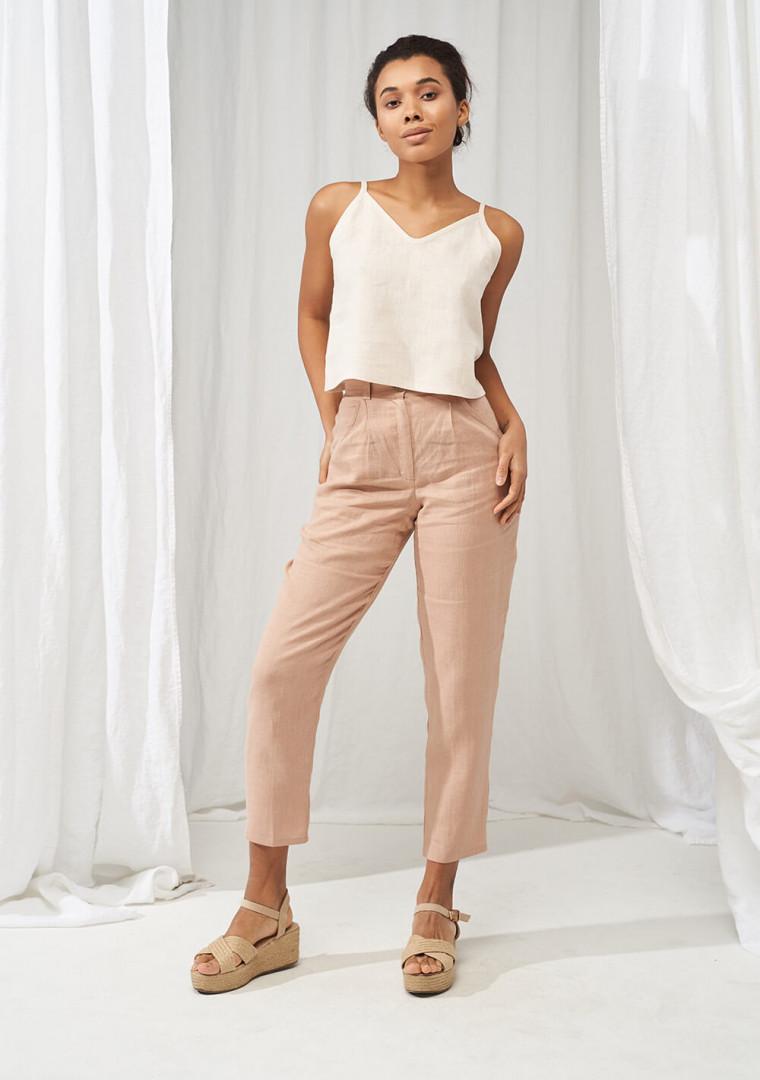 High waist tapered linen pants Ginger 2