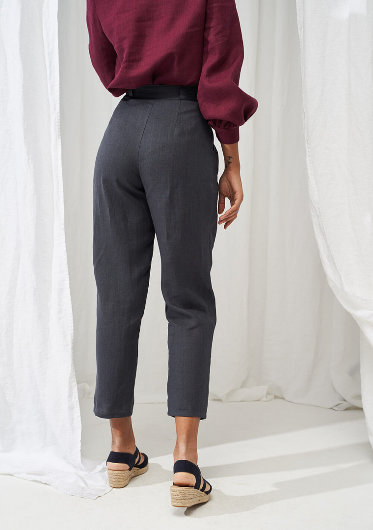High waist tapered linen pants Ginger 5