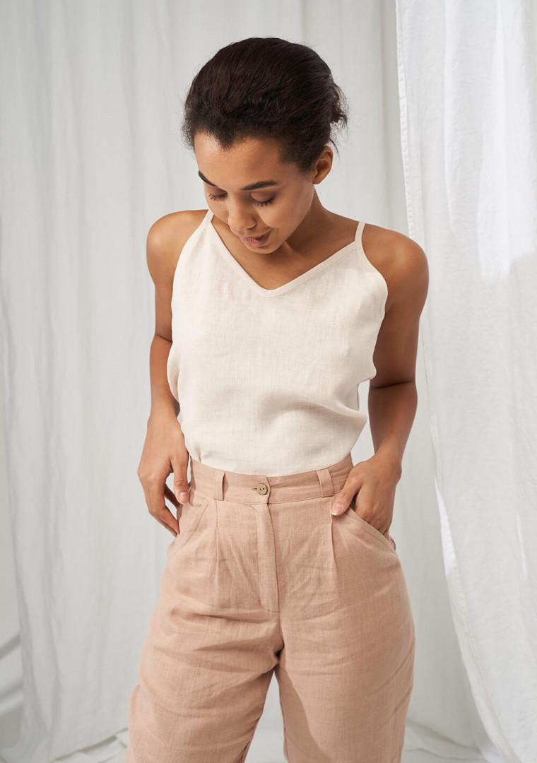 High waist tapered linen pants Ginger 3