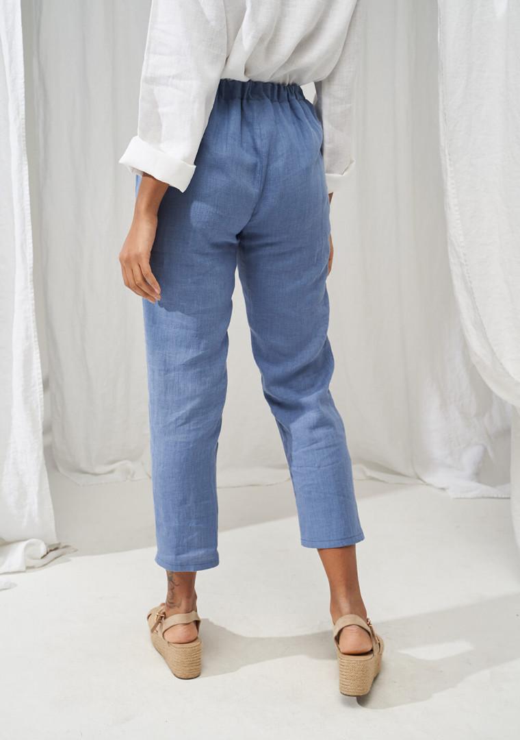 Elastic waist linen pants Leticia 4