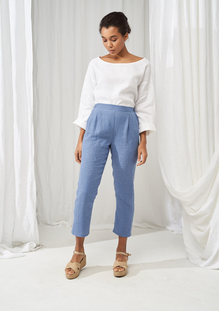 Elastic waist linen pants Leticia 5