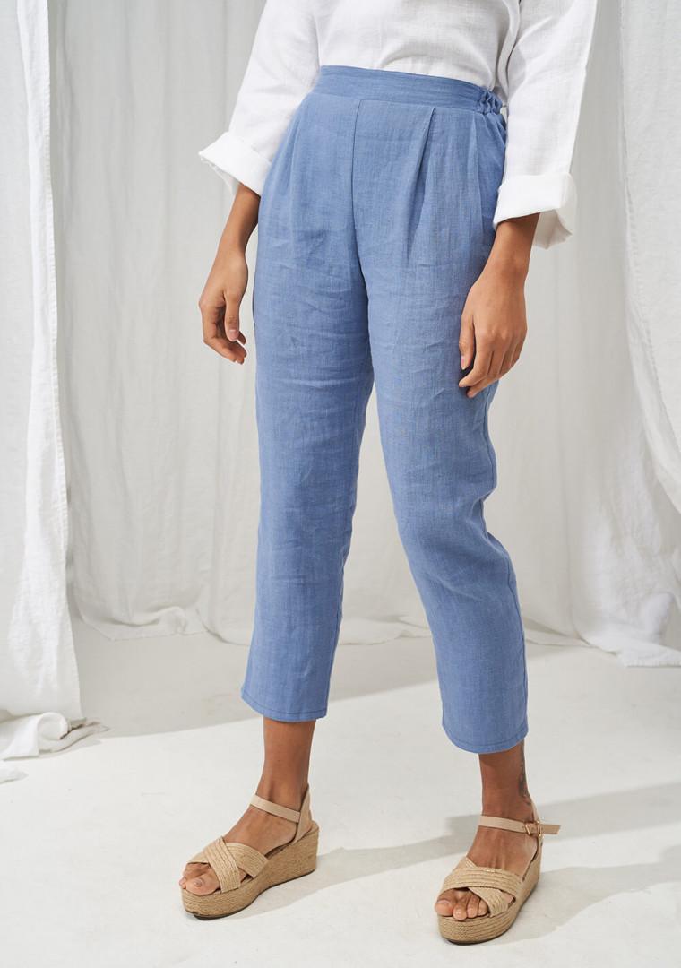 Elastic waist linen pants Leticia 2