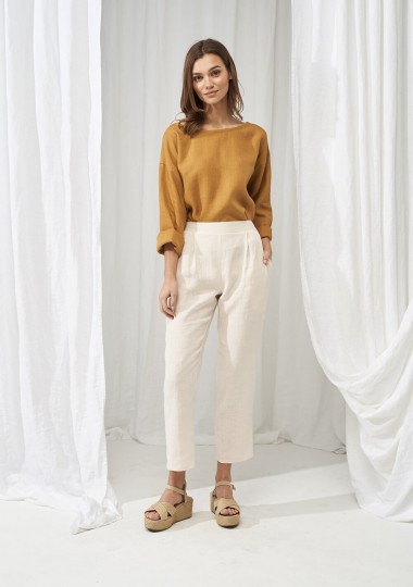 Elastic waist linen pants Leticia