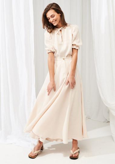 Linen circle skirt Wavy in maxi length