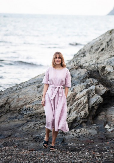 Linen dress Maeve in pale pink