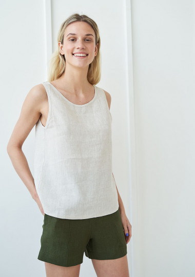 Open back linen top Leigh