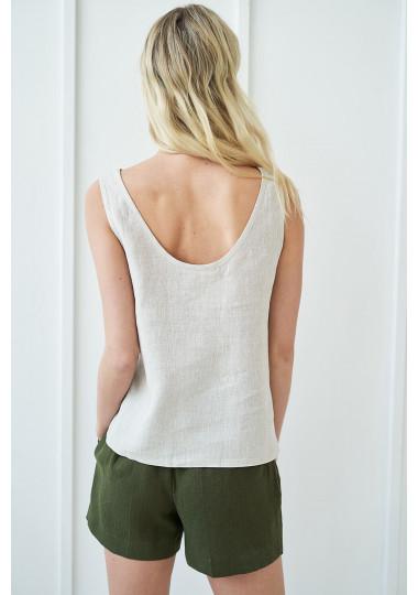 Open back linen top Leigh