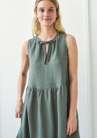 Long linen dress with tie neck detail Aylin