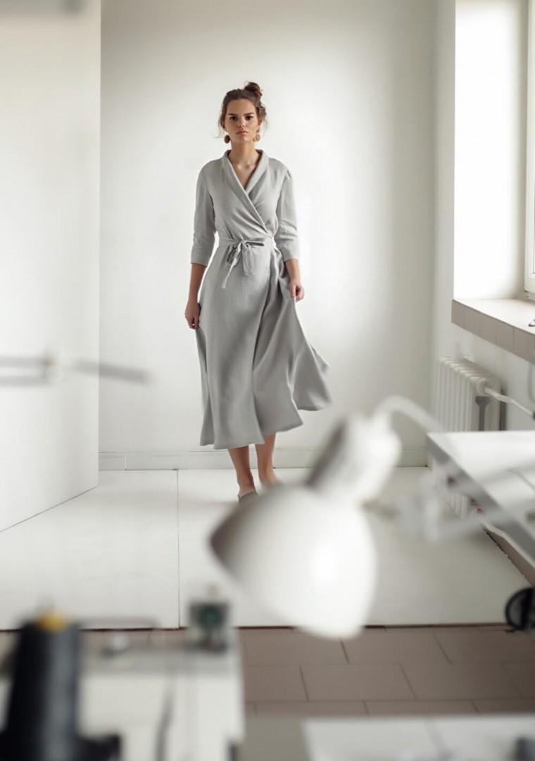 Linen shawl collar wrap dress Marlena 9