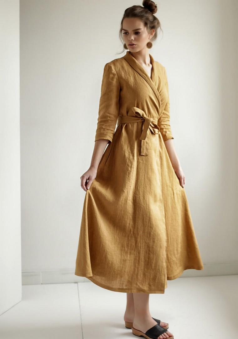 Mustard linen wrap dress Marlena 5