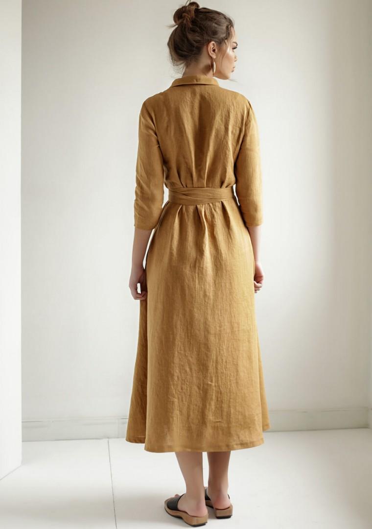 Mustard linen wrap dress Marlena 6