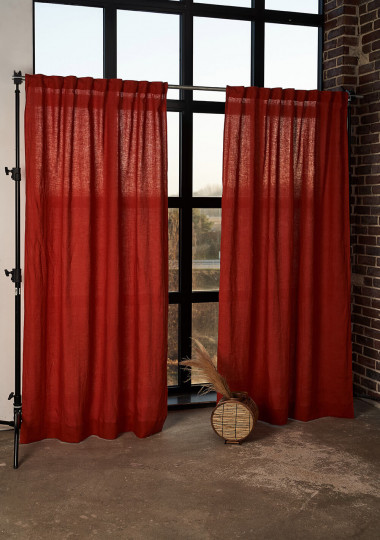 Set of 2 linen curtain panels in Red Clay