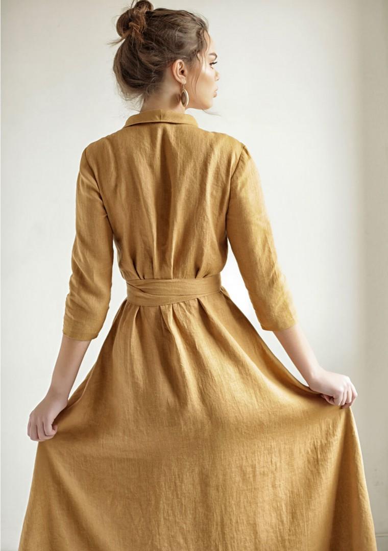 Mustard linen wrap dress Marlena 7