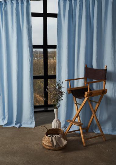 Set of 2 linen rod pocket curtain panels