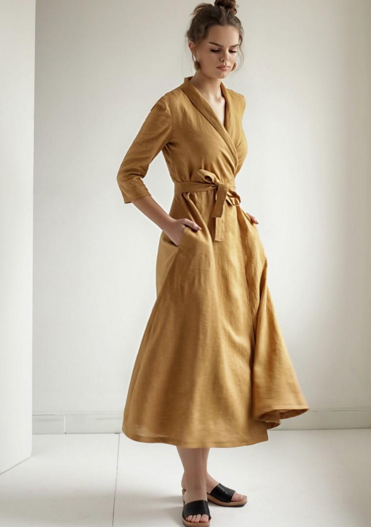 Mustard linen wrap dress Marlena 3