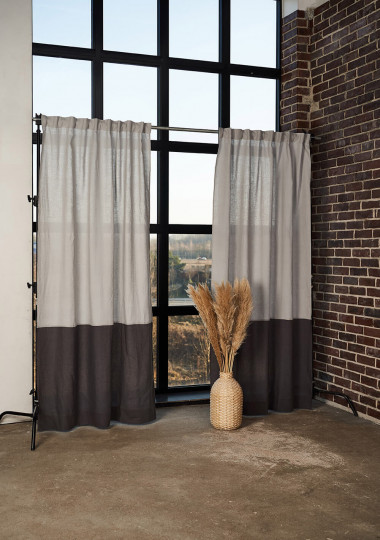 Set of 2 linen color block curtains in gray