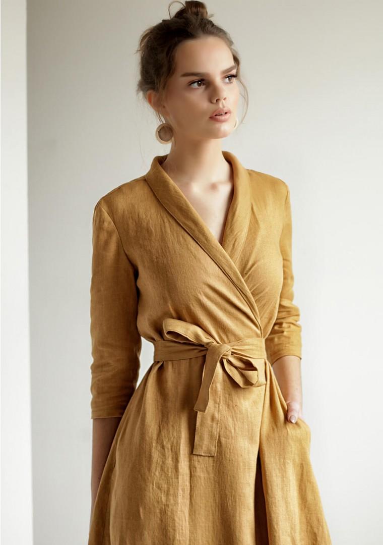 Mustard linen wrap dress Marlena 2