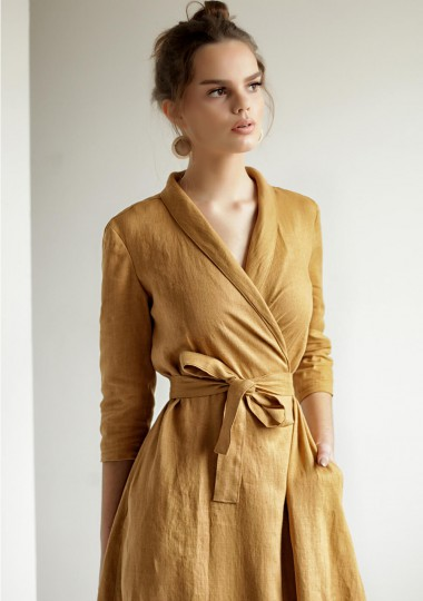 Mustard linen wrap dress Marlena