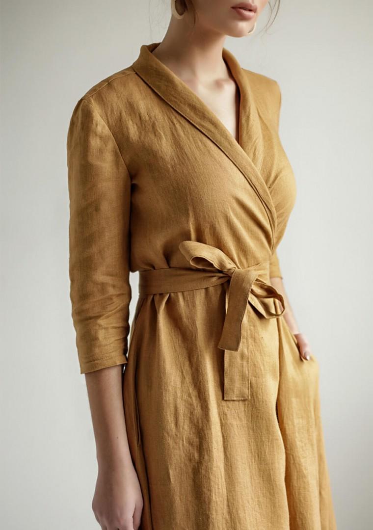 Mustard linen wrap dress Marlena 4