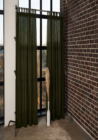 Linen tab top curtain panel in Forest Green