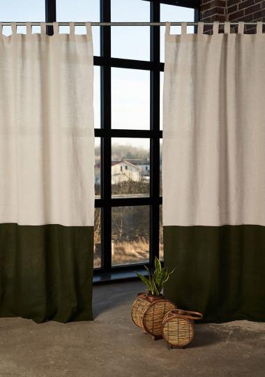 2 linen color block curtains