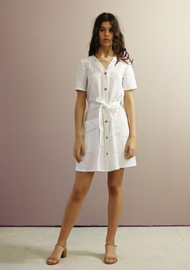 Button front linen dress Maya