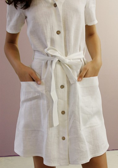 Button front linen dress Maya in optic white