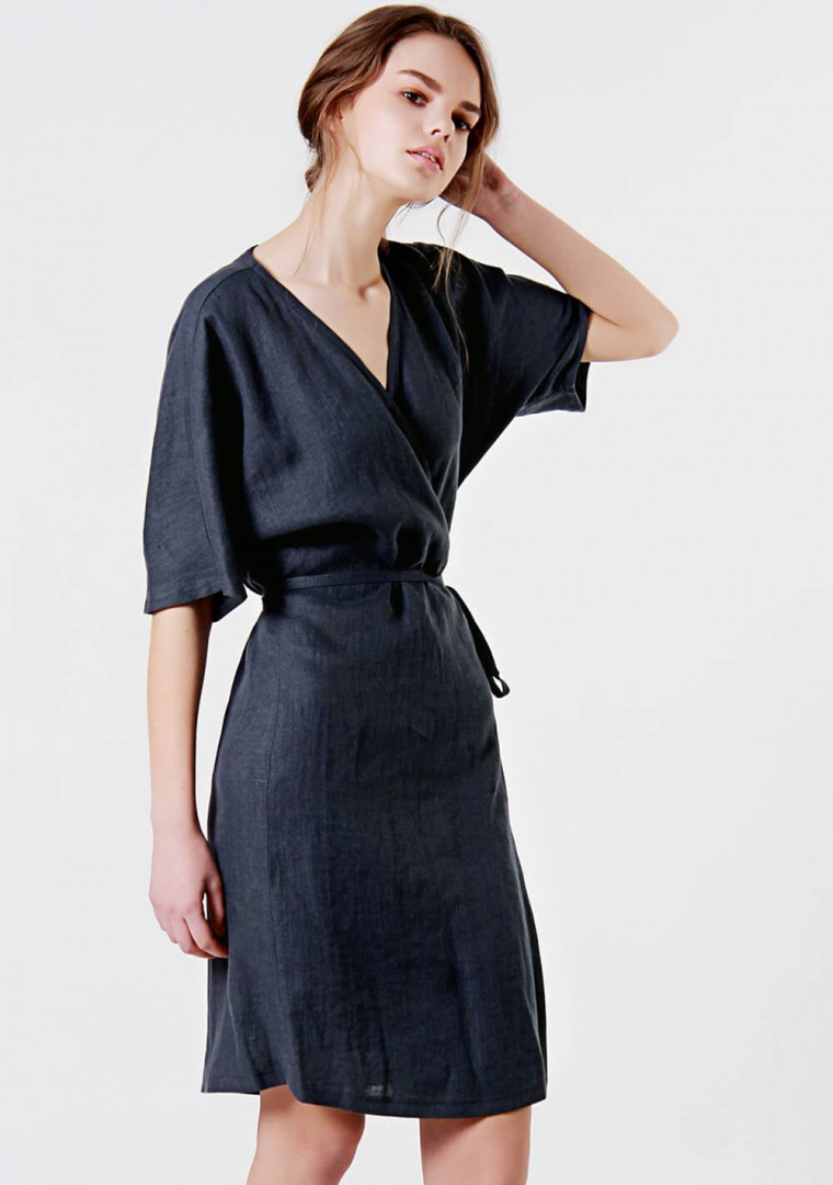 Linen wrap dress Noelle 1