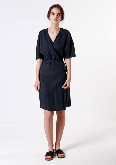 Linen wrap dress Noelle in black