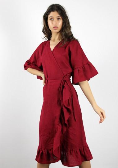 Linen wrap dress with ruffle Reina