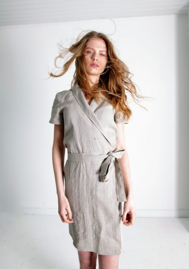 Linen mini wrap dress Safari