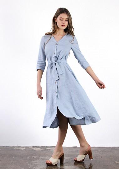 Button front linen dress Santana in bluish gray