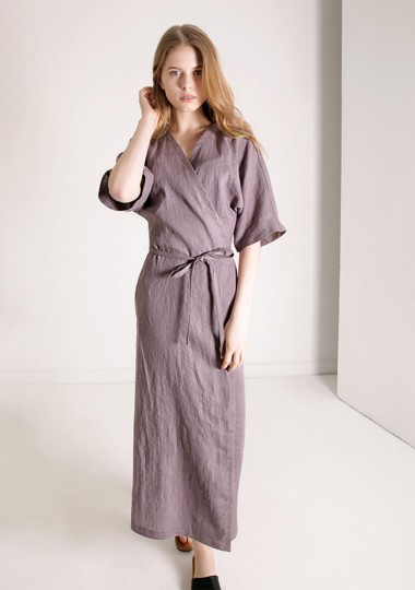 Linen calf length wrap dress Savannah