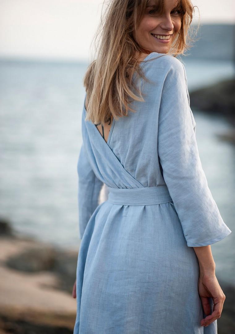 Wrap back linen dress Scarlett 1