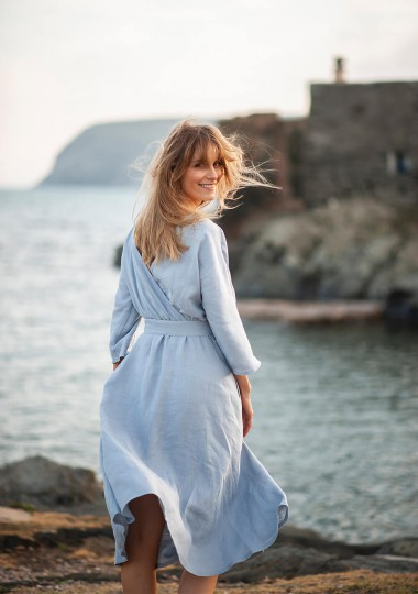 Wrap back linen dress Scarlett
