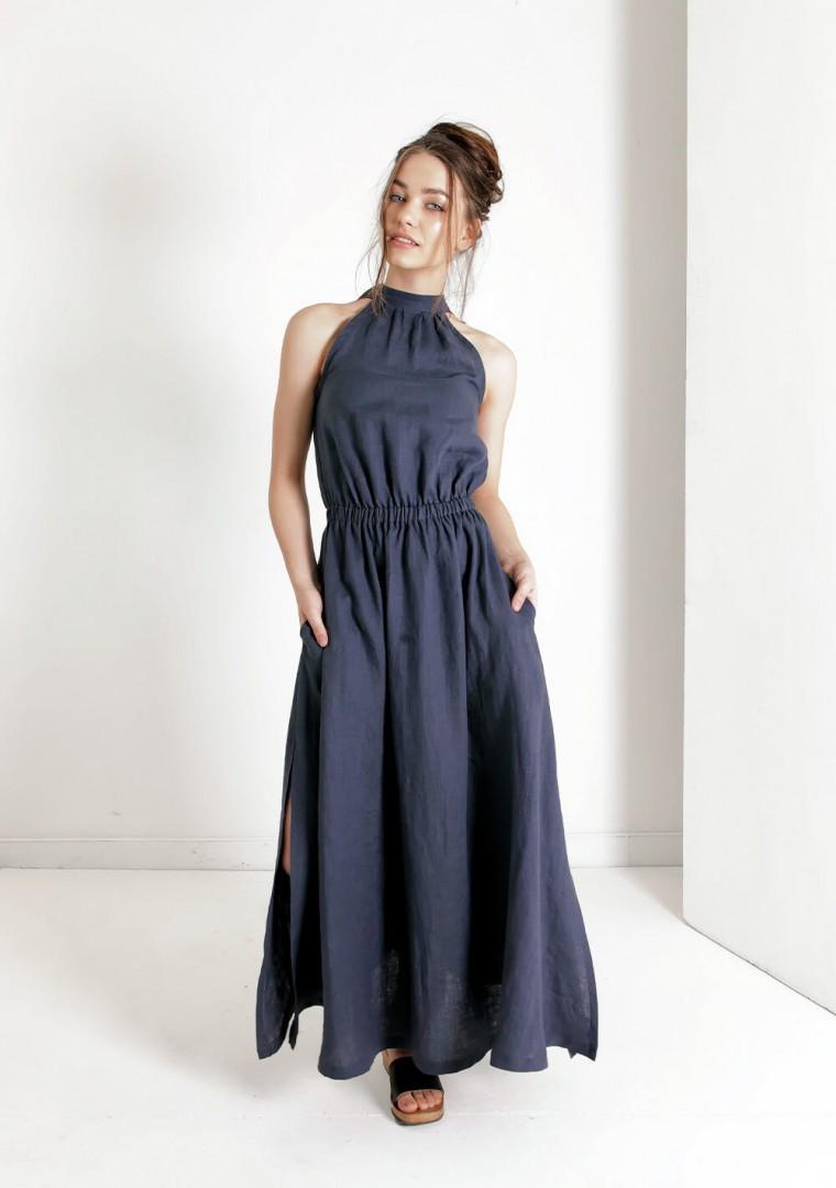 Linen halter dress in maxi length Alicia 3