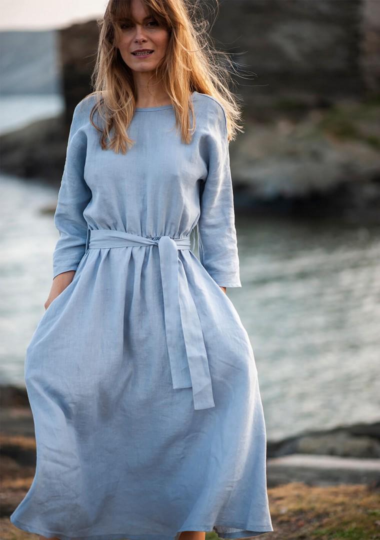 Wrap back linen dress Scarlett 4
