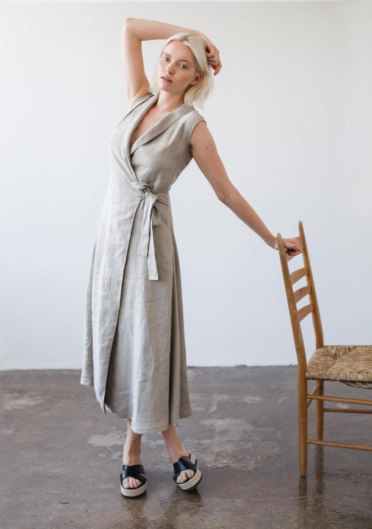 Sleeveless linen wrap dress Serena 6