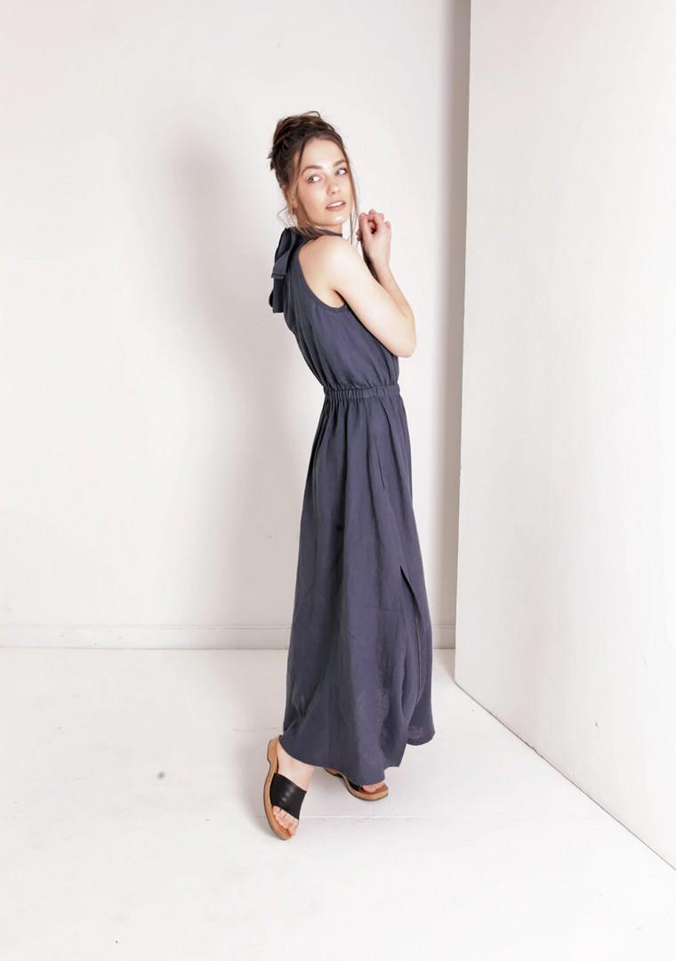 Linen halter dress in maxi length Alicia 4
