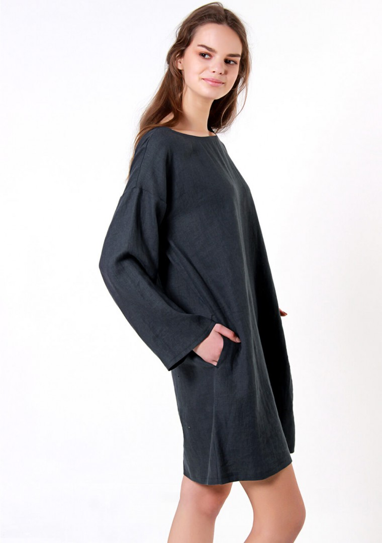 Linen tunic dress with long sleeves Sophie 4