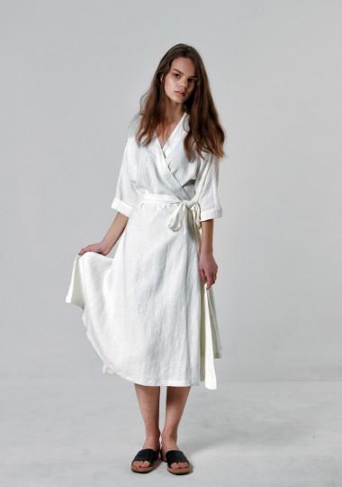 Long linen wrap dress Thalia in optic white