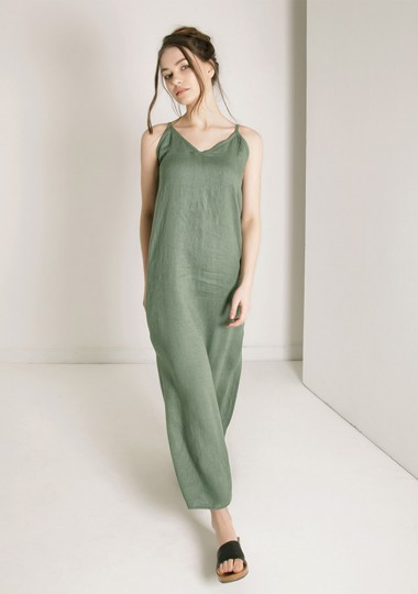 Linen dress Zoe in moss green