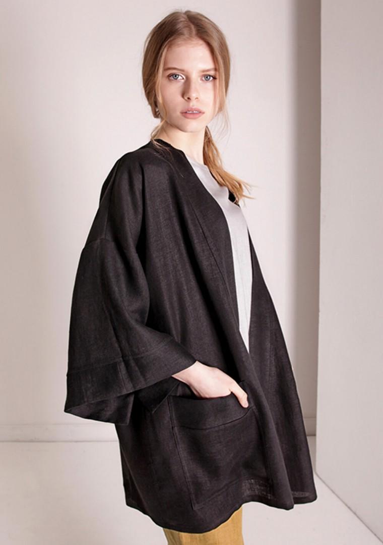 Linen cardigan Devonne in black 2