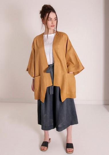 Linen cardigan Devonne in mustard